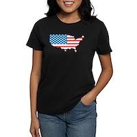 America Flag 4th July Women's Dark T-Shirt