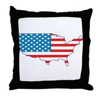 America Flag 4th July Throw Pillow