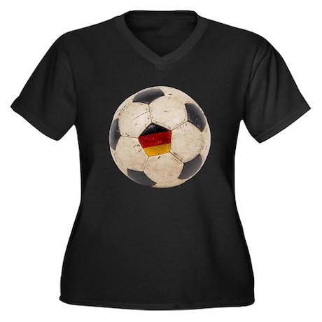 Germany Football Women's Plus Size V-Neck Dark T-S