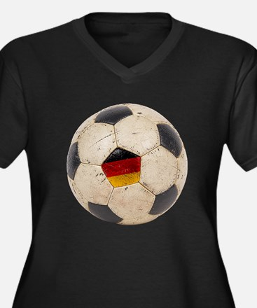 Germany Football Women's Plus Size V-Neck Dark T-S