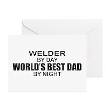 World's Best Dad - Welder Greeting Cards (Pk of 10