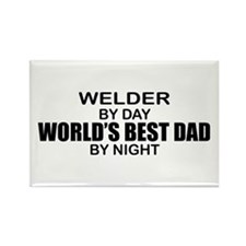 World's Best Dad - Welder Rectangle Magnet