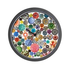 Button Collage Fun Stuff Wall Clock