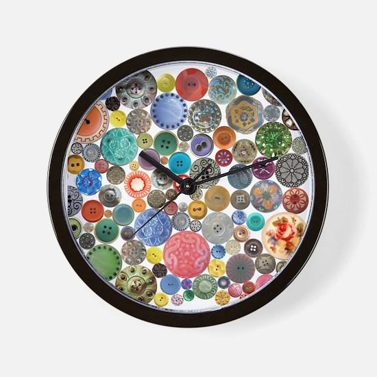 Button Collage Fun Stuff Wall Clock