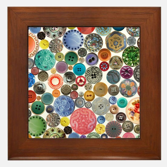 Button Collage Fun Stuff Framed Tile