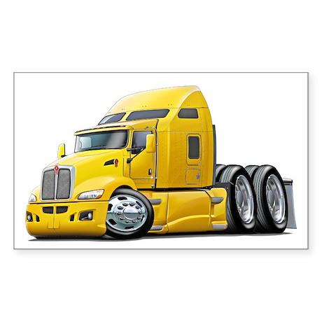 Kenworth 660 Yellow Truck Sticker (Rectangle)