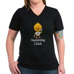 Gardening Chick Women's V-Neck Dark T-Shirt