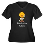 Gardening Chick Women's Plus Size V-Neck Dark T-Sh