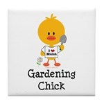 Gardening Chick Tile Coaster