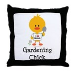 Gardening Chick Throw Pillow