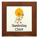 Gardening Chick Framed Tile