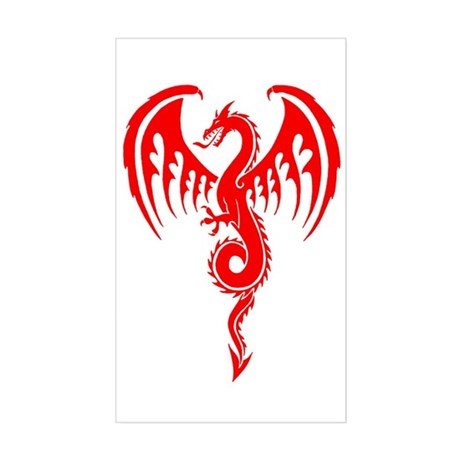 Red Tribal Dragon Sticker (Rectangle)