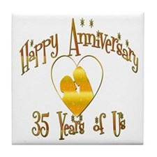 Funny 35th anniversary Tile Coaster