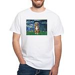 Lilies5-AussieShep (#5) White T-Shirt