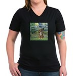 Bridge-Aussie Shep (#5) Women's V-Neck Dark T-Shir