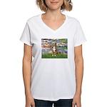 Lilies2-Australian Shep (#5) Women's V-Neck T-Shir