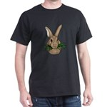 Bunny with Grass Black T-Shirt