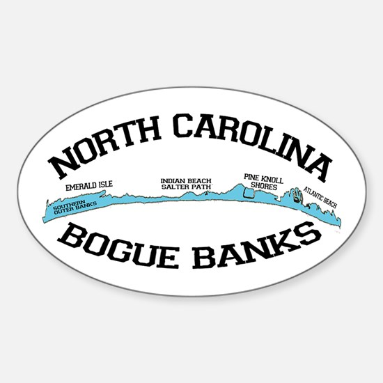 Bogue Banks NC - Map Design Sticker (Oval)