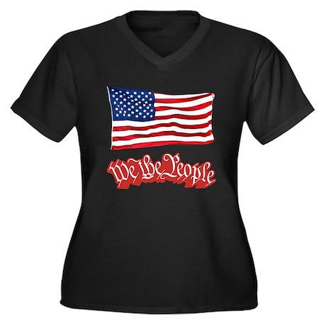 We The People w/Flag Women's Plus Size V-Neck Dark