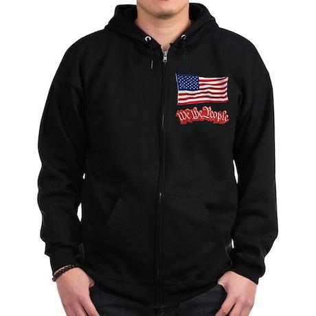 We The People w/Flag Zip Hoodie (dark)