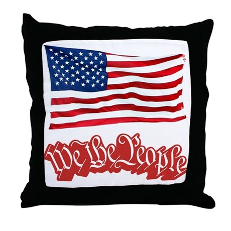 We The People w/Flag Throw Pillow