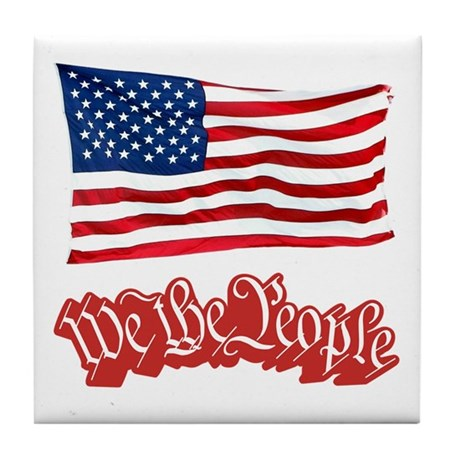We The People w/Flag Tile Coaster