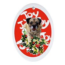 border terrier Christmas Oval Ornament