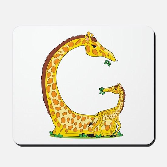 Animal Alphabet Giraffe Mousepad
