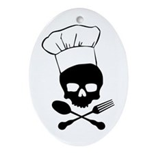 Skull & Crossbones Chef Ornament (Oval)