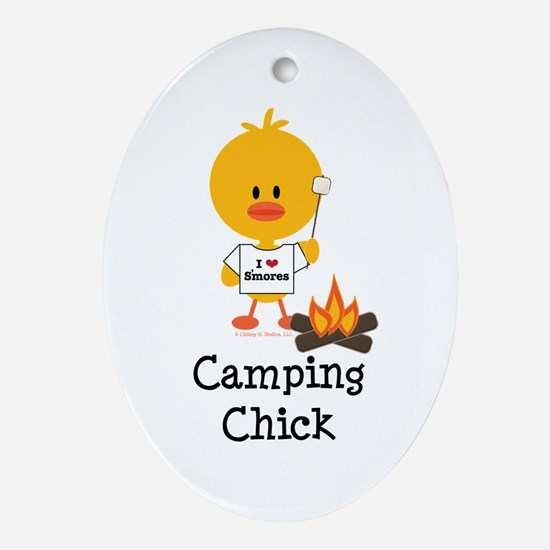Camping Chick Ornament (Oval)
