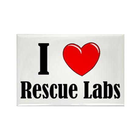 I Love Rescue Labradors Rectangle Magnet
