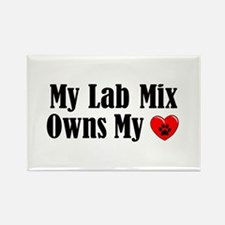Heart Owning Lab Mix Rectangle Magnet