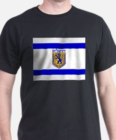 Jerusalem Municipal Flag Black T-Shirt