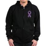 Purple Ribbon Zip Hoodie (dark)