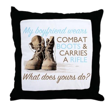 My Boyfriend Wears Combat Boo Throw Pillow