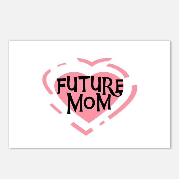 Pink Heart Future Mom Postcards (Package of 8)