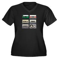Cassette Tapes Women's Plus Size V-Neck Dark T-Shi