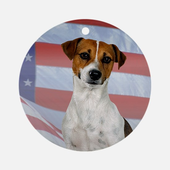 Patriotic Jack Russell Terrier Ornament (Round)