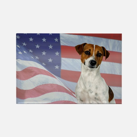 Patriotic Jack Russell Terrier Rectangle Magnet