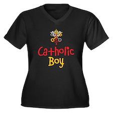 Catholic Boy Women's Plus Size V-Neck Dark T-Shirt