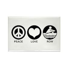 Peace Love Row Rectangle Magnet