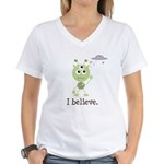 I Believe Alien UFO Women's V-Neck T-Shirt