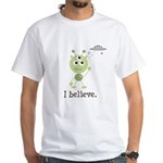 I Believe Alien UFO White T-Shirt