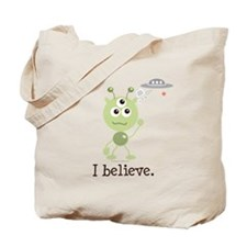 I Believe Alien UFO Tote Bag