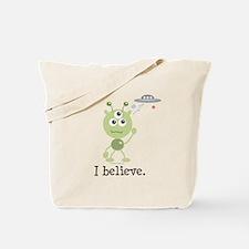 I Believe Alien UFO Tote Bag