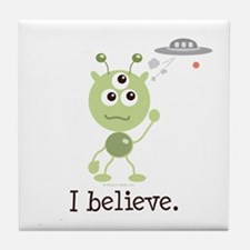 I Believe Alien UFO Tile Coaster