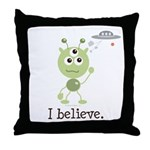 I Believe Alien UFO Throw Pillow
