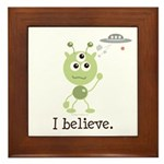 I Believe Alien UFO Framed Tile