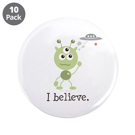 """I Believe Alien UFO 3.5"""" Button (10 pack)"""