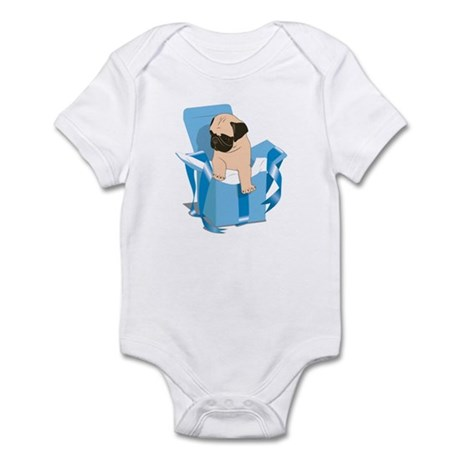 Blue Pug Present Infant Bodysuit